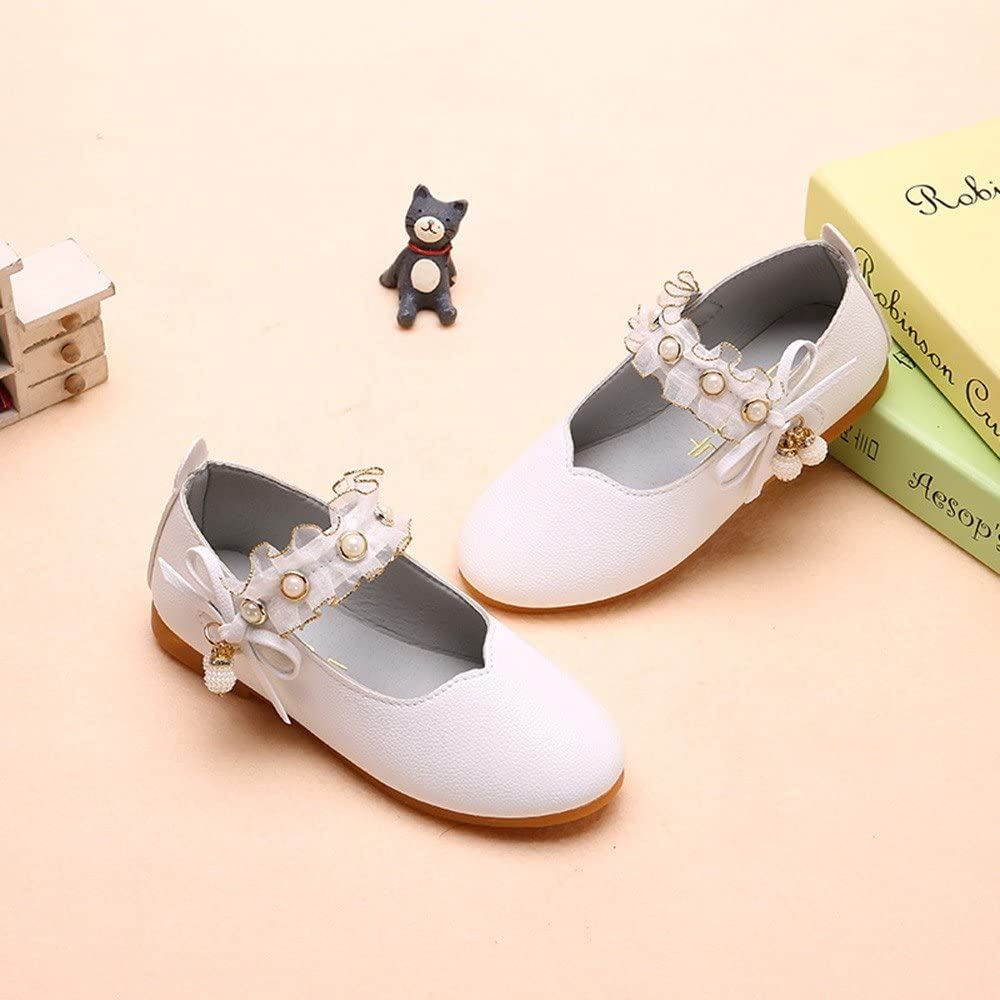 Kids Baby Girls Cute Princess Shoes Bowknot Pearl Hollow Dance Single Shoes Voberry