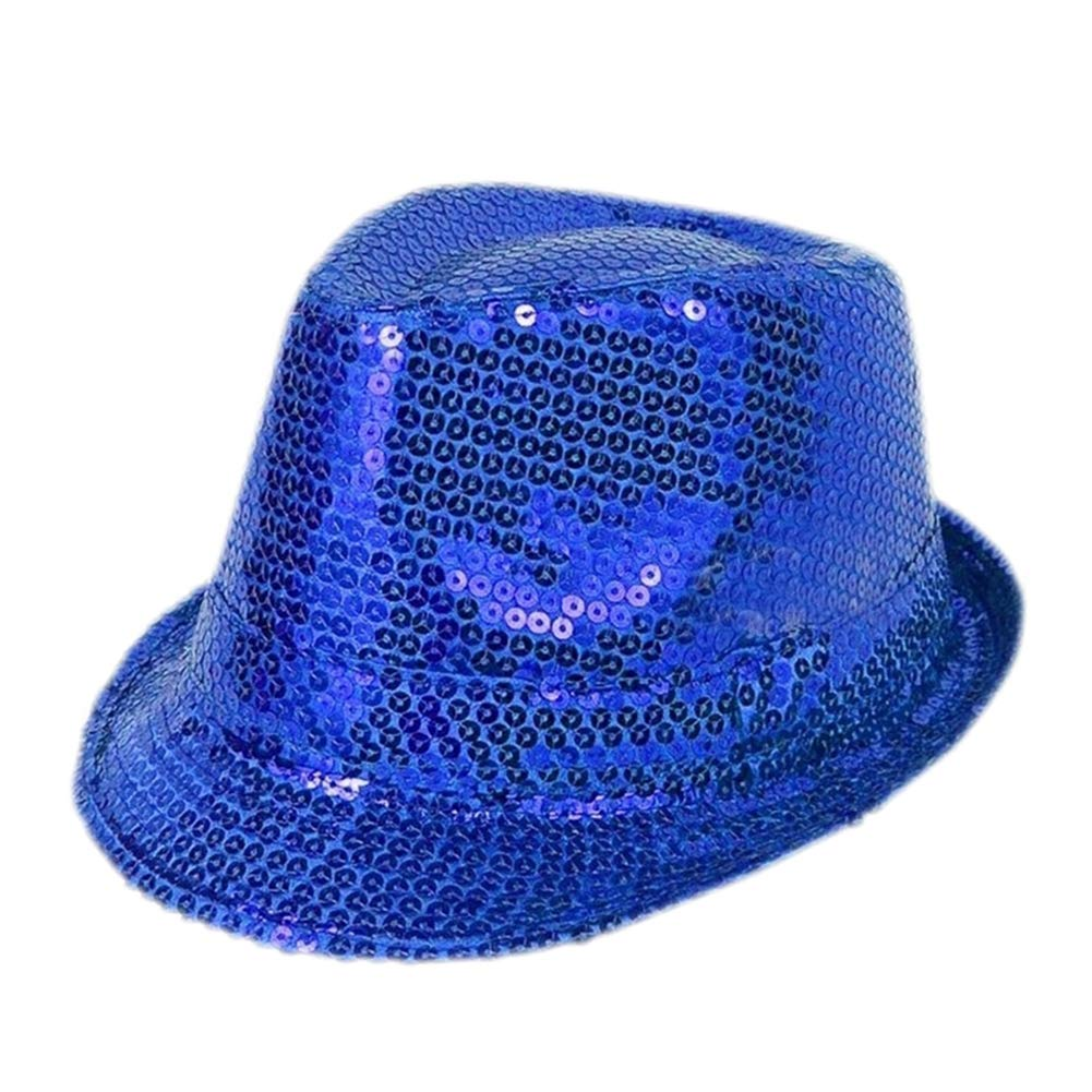 Unisex Fashion Fedora Hat Silver Sequin Party Trilby Dance Party Prop Jazz Hat