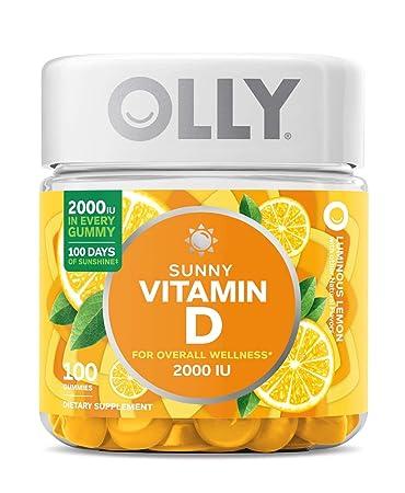2a1d261d8241 OLLY Sunny Vitamin D Gummy, 100 Day Supply (100 Gummies), Luminous Lemon