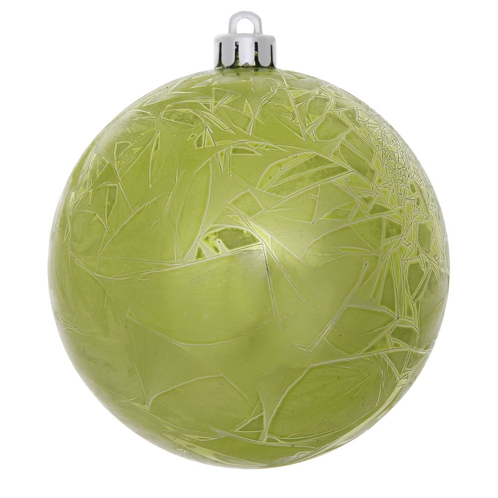 6 Pre-Drilled Cap Secured /& Green Floral Wire Champagne 6 Vickerman N141338DV Crackle Ball In 4//Bag with UV Resistant Shatterproof