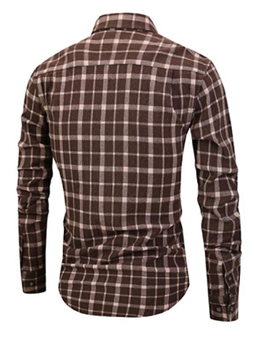 Domple Mens Casual Slim Fit Long Sleeve Cotton Checkered Button Down Dress Work Shirt