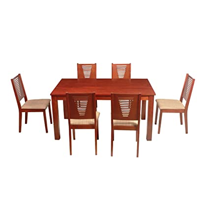 Woodness Vivian Solid Wood Upholstered 6 Seater Dining Table Set (Mahogany)