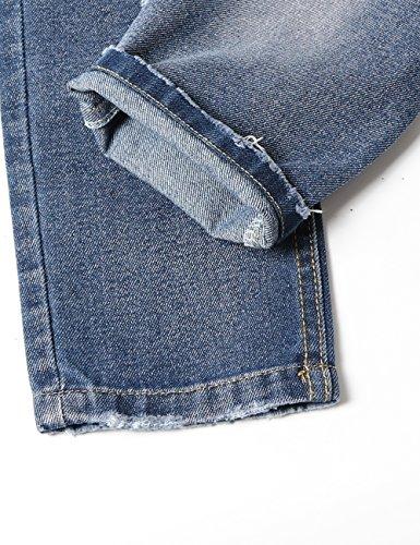 WIYOSHY Girls Skinny Ripped Elastic Pull On Denim Jeans Belt Age 5-14 Years (Blue, 7/8 (140)) by WIYOSHY (Image #3)