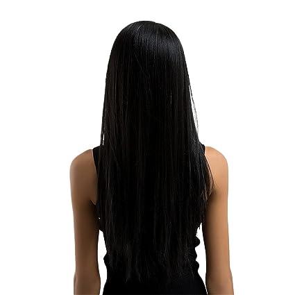 D DOLITY Recta Peluca Larga Negras Pelucas para Mujer - Pelucas Diarias de Muchachas Pelucas de