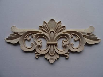 Decorative wooden large scroll center applique onlay furniture