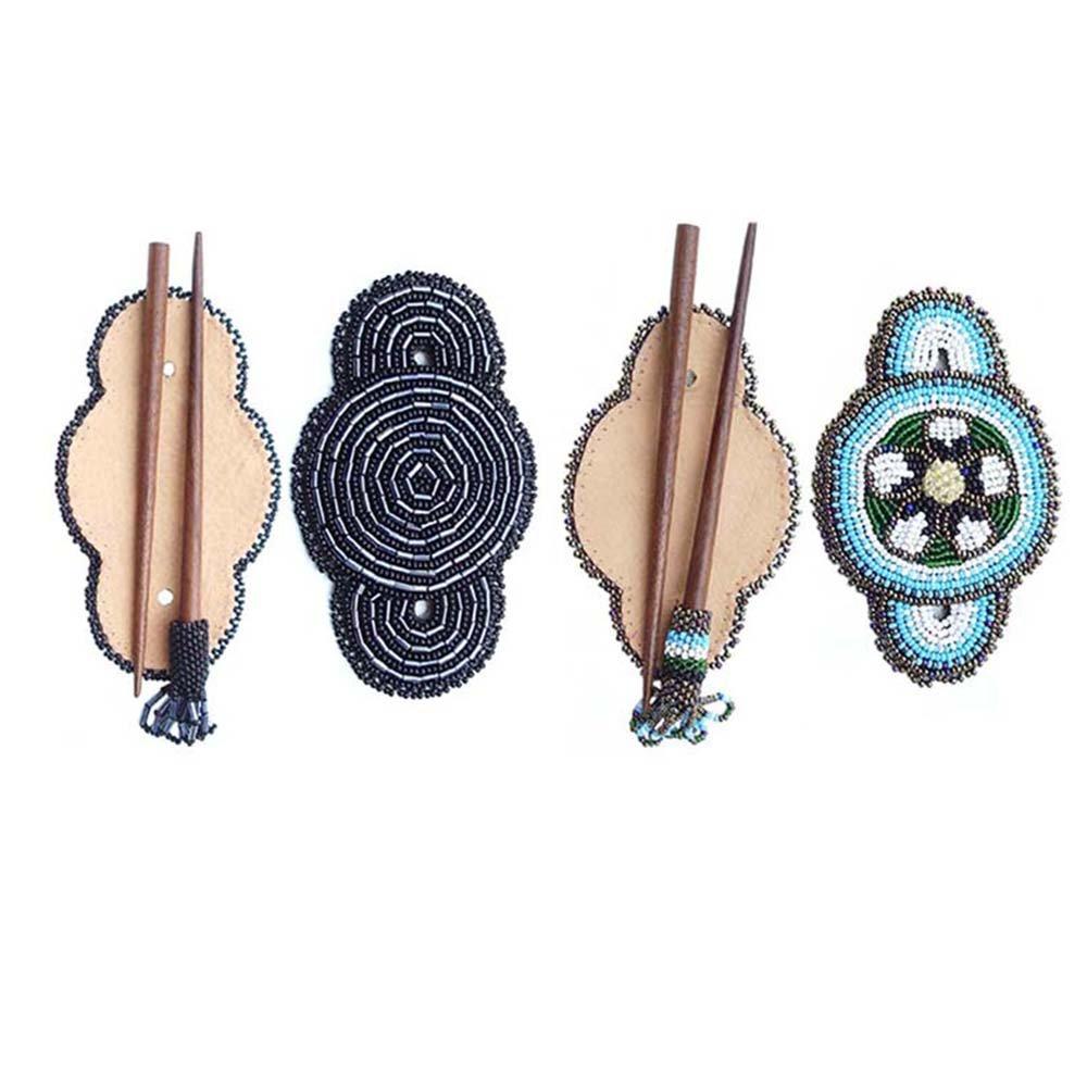 Handmade Seed Beaded Flower Bead Work Multi Color Wood Stick Hair Barrette Wholesale Z-40-12,6