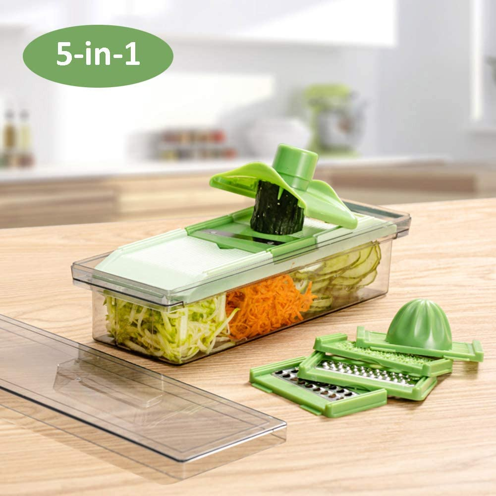 Vegetable Chopper Slicer Grater Juicer With Container,5 In 1 Multifunction Mandoline Slicer Food Chopper Cucumber Potato Fruit Cutter Green