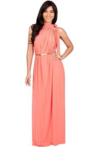 KOH KOH Womens Long Halter Sleeveless Sexy Summer Belted Evening Maxi Dress