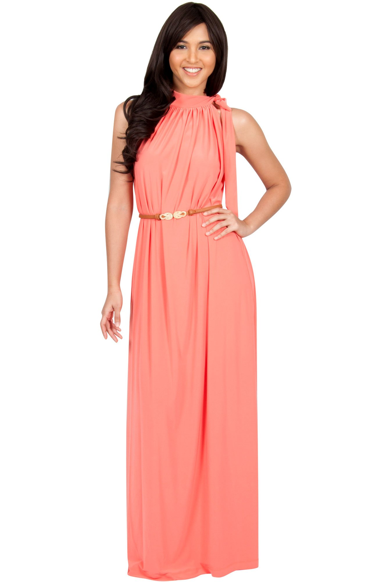 KOH KOH Petite Womens Long Halter Sleeveless Sexy Summer Belted Evening Maxi Dress, Coral/Pink Peach S 4-6