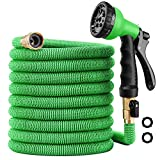 100 ft Garden Hose - Upgraded Expandable Water Hose Kit with 3/4 Solid Brass Connectors Fittings, Valve, 8 Pattern Spray Nozzle, Durable Latex Core - New Expanding Flexible Gardening Hose