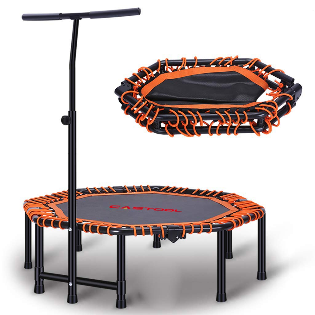 CASTOOL 48''Ultra Quiet Fitness Mini Octagon Foldable Trampoline with Adjustable Handle,Safe Elastic Band - Indoor Fitness/Home Workout Cardio Training for Adults (Orange)