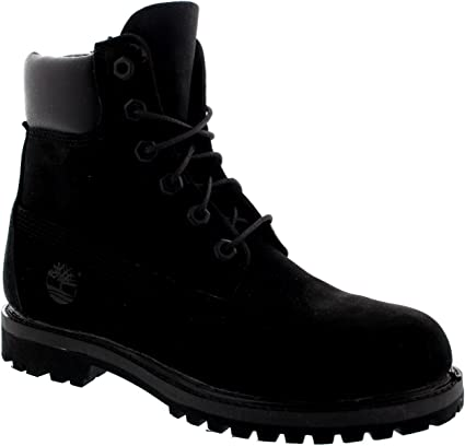 Timberland Womens 6 Inch Premium Suede Black Lace Up Ankle High Boots Black 9