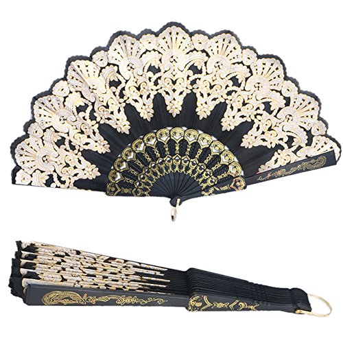 GogoForward Black Spanish Style Dance Party Wedding Lace Silk Folding Hand Held Flower Fan (Black And Spanish)