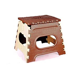 SGD Plastic Folding Stepping Stool, 10 Inches, Brown