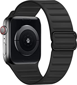 GZ GZHISY Stretchy Solo Loop Band Compatible for Apple Watch 38mm 40mm 42mm 44mm, Adjustable Elastic Silicone Sport Buckle Strap Women Men for iWatch Series 1/2/3/4/5/6/SE, Black 42mm/44mm