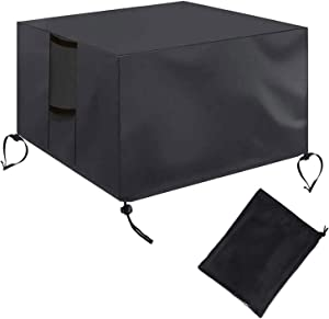 2Krmstr Gas Fire Pit Cover Square-Shape, Heavy Duty Patio Outdoor Cover with PVC Coating, Waterproof Weatherproof All-Season Protection Furniture Covers