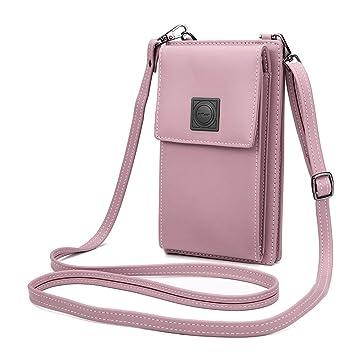 03b01cc0263 OURBAG Billetera de cuero con estilo de las mujeres Monedero pequeño y  lindo Mini bolso de hombro Bolsa de teléfono Rosado  Amazon.es  Equipaje