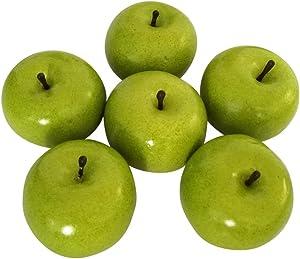 J-Rijzen 6pcs Artificial Apples Fake Apples Artificial Fruits Vivid Apples for Home Fruit Shop Supermarket Desk Office Restaurant Decorations Or Props (Green)