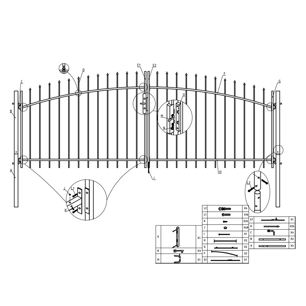 ALEKO DWGD11X5 DIY Arched Steel Dual Swing Driveway Gate Kit with Lock Athens Style 11 x 5 Feet by ALEKO (Image #8)