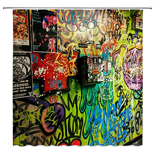 Feierman Colorful Graffiti Shower Curtain Decor Abstract Messy Design Fabric Bathroom Curtain Decor Set with Hooks 70x70Inches ()