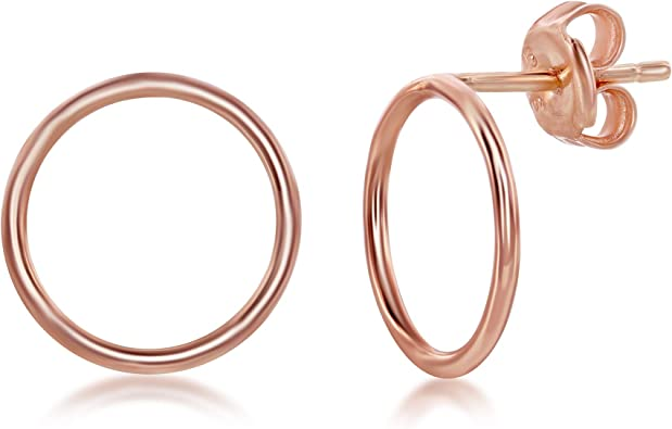 Amazon Com Sterling Silver Rose Gold Plated Open Circle Stud Earrings Clothing