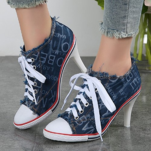 Pump Women's Shoes High Heeled Canvas JiYe blue Fashion Cowboy Sneaker D 6Y1Anwq