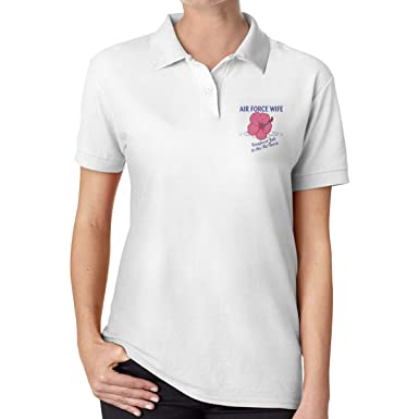 UP LUCK Air Force Wife Women Premium Office Polo Shirt: Amazon.es ...