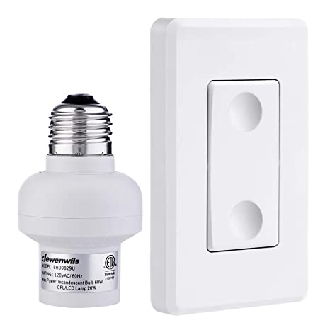 super popular dead3 154f7 DEWENWILS Remote Control Light Lamp Socket E26 E27 Bulb Base Adapter, No  Wiring, Wall Mounted Wireless Controlled Ceiling Light Switch Fixture, ...