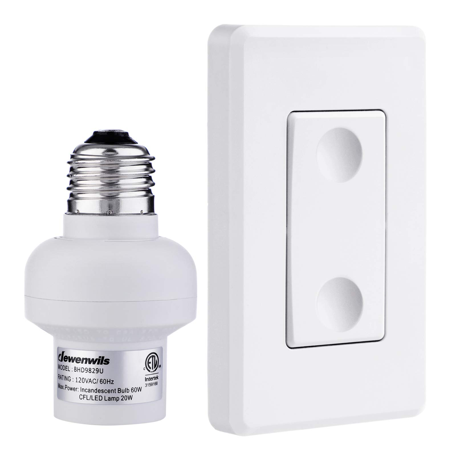 DEWENWILS Remote Control Light Lamp Socket E26 E27 Bulb Base Adapter, No Wiring, Wall Mounted Wireless Controlled Ceiling Light Switch Fixture, Expandable, ETL Listed, White