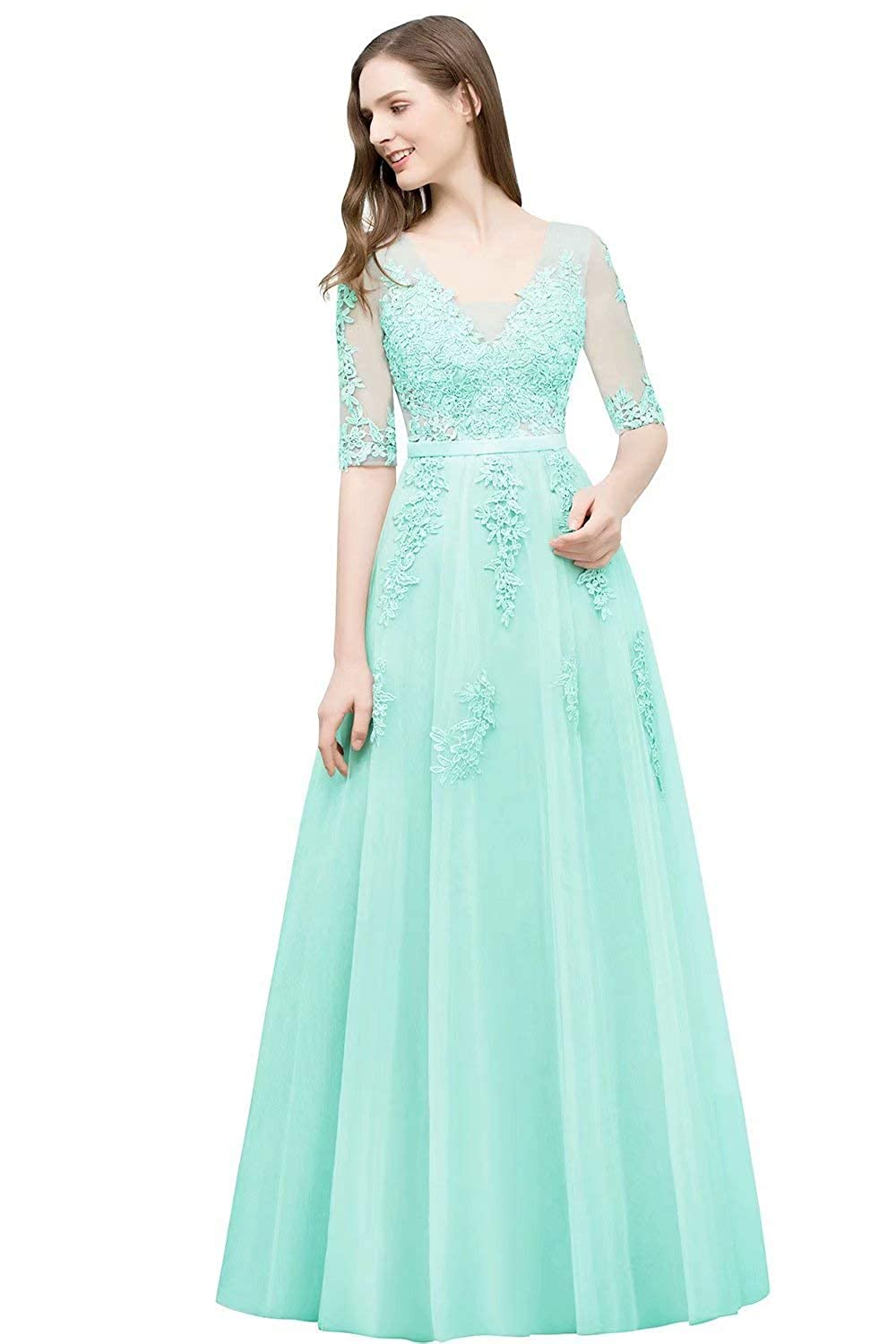 Green Unions Women V Neck Tulle Prom Party Gown A Line Appliques Lace Formal Backless Evening Dress