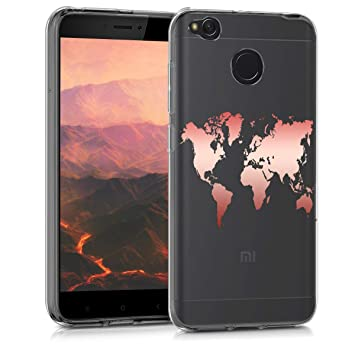 kwmobile Funda para Xiaomi Redmi 4X - Carcasa Protectora de [TPU] con diseño de Mapa del Mundo en [Oro Rosa/Transparente]