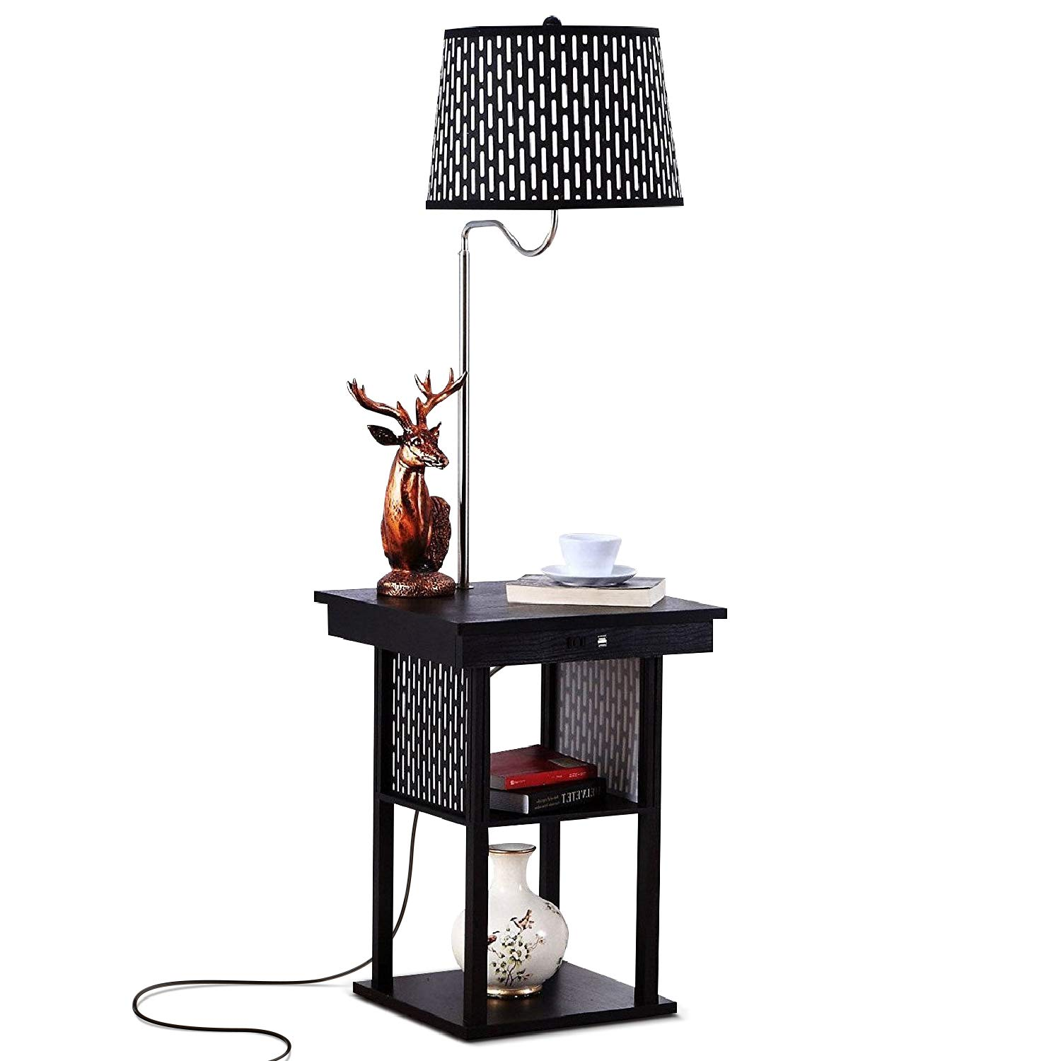 Brightech Madison - Mid Century Modern Nightstand, Shelves & USB Port Combination - Bedside Table with LED Floor Lamp Attached - End Table for Living Room Sofas - Black