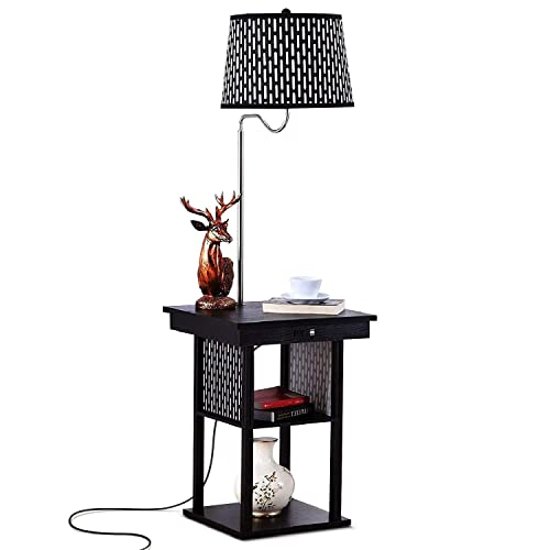 Brightech – Madison LED Floor Lamp with USB Charging Ports – Mid Century Modern Bedside Nighstand Table – End Table with Shelves for Living Room Sofas – Classic Black