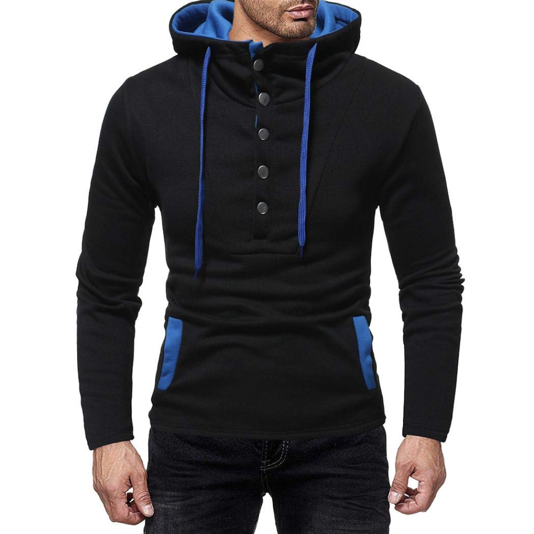 kaifongfu Hooded,Autumn and Winter Mens Button Cap Casual Suits Sweatshirt Top(Black,M)