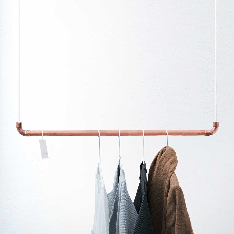 Kleiderstange Deckenmontage design kleiderstange aus kupfer und weißem baumwollseil in 110 cm