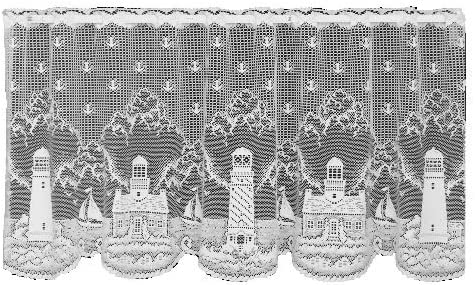 Heritage Lace Lighthouse 60-Inch Wide by 30-Inch Drop Tier, White