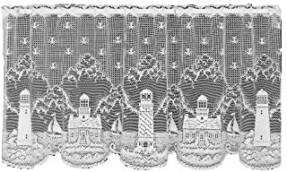product image for Heritage Lace Lighthouse 60-Inch Wide by 30-Inch Drop Tier, White