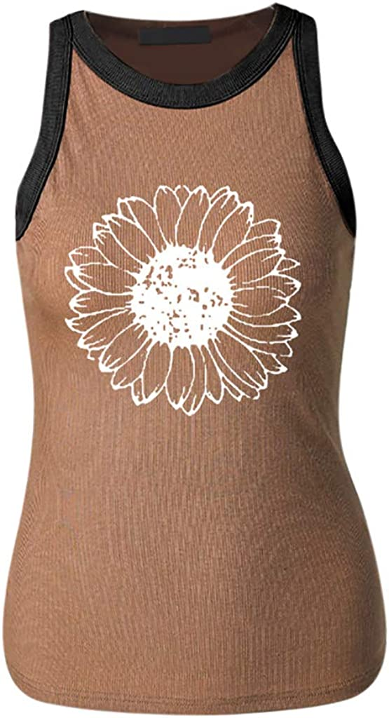 CHUIYANG Sunflower Print Sleeveless O Neck T-Shirt for Women,Casual Elastic Fitness Tank Tops Graphic Tees
