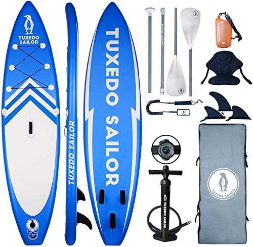 Inflatable 11 32 6 SUP with Kayak Conversion Kits Everything Included with Stand Up Paddle Board, Adj 2 in 1 Paddle, Kayak seat,Double Action Pump, ISUP Backpack, Leash,Waterproof Bag