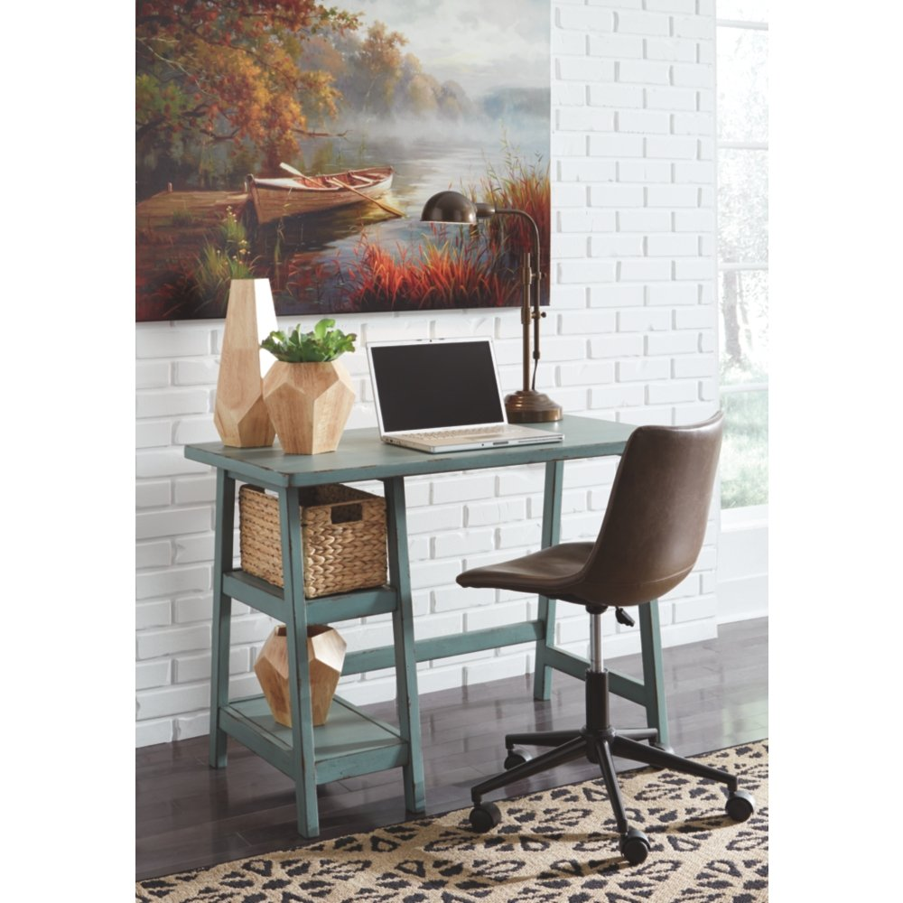 Ashley Furniture Signature Design - Mirimyn Small Home Office Desk - 2 Shelves - Includes Brown Basket - Distressed Antique Teal by Signature Design by Ashley (Image #4)