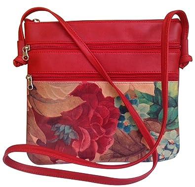 d82d364b3ddc Genuine Floral Leather Cross-body Bag RedTrim - Argentinian Hand ...