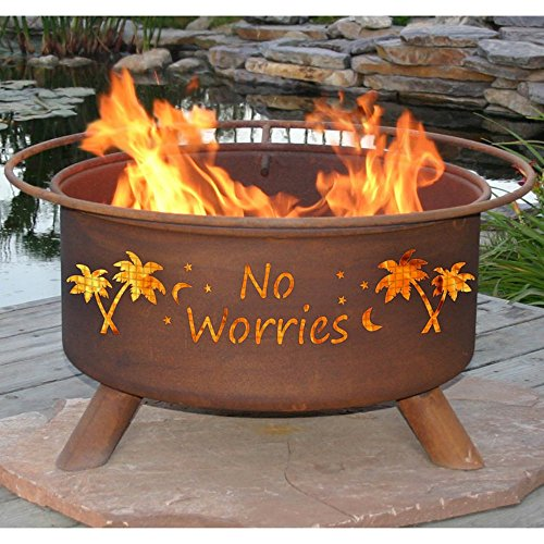 Patina ''No Worries'' 31 Inch Fire Pit with Grill and FREE Cover by Patina