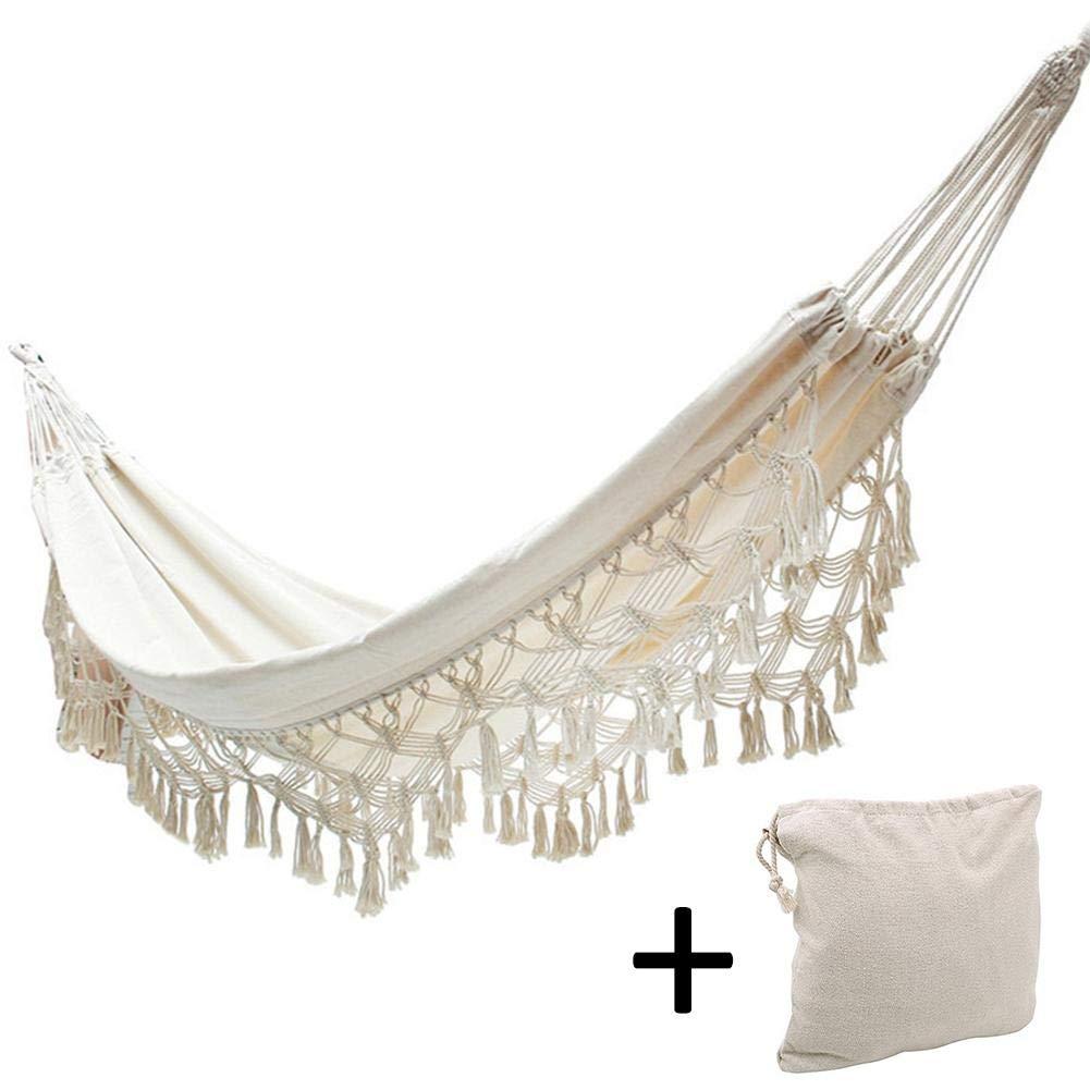 Mirabellini Amaca Canvas - Amaca Hammock Chair White - Amaca Doppia da Giardino Esterna Amaca Grande a Due posti