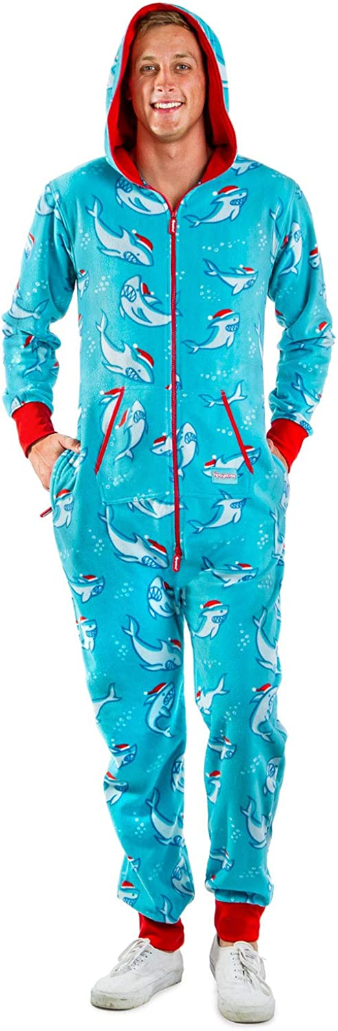 Men's Santa Shark Cozy Jumpsuit - Funny Santa Cozy Christmas Adult Onesie