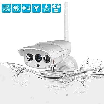 Cámara IP WiFi Exterior, 1080P Cámaras de Vigilancia Exterior Super Impermeable IP67 Tiene Ranura para