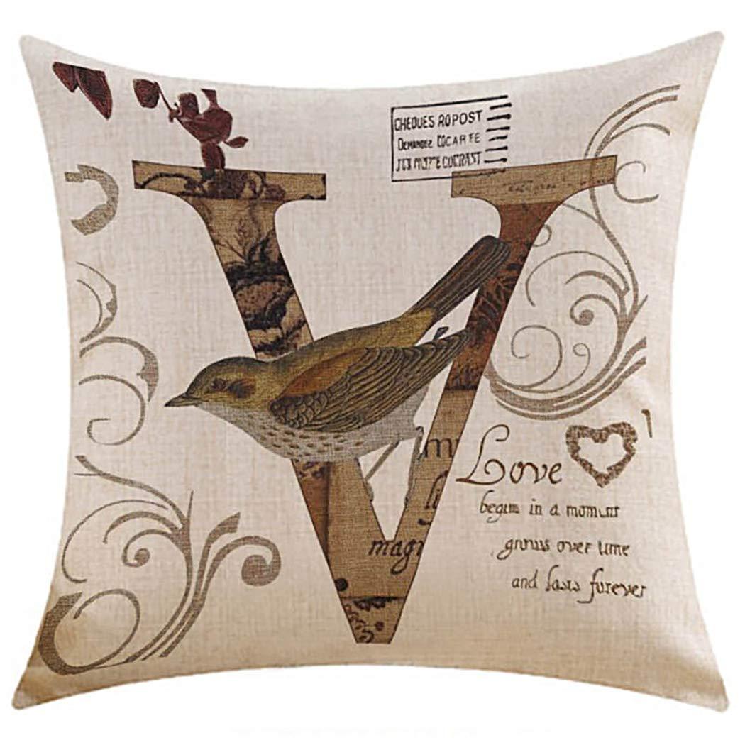 Amazon.com: JUSTDOLIFE Pillow Cover Love Printed Square ...