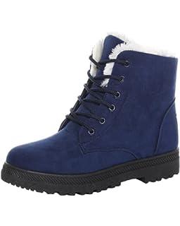 Minetom Femmes Automne Hiver Bottes de Neige Cheville Chaudes Fourrure  Laçage Chaussures Plates b873d559a4e3
