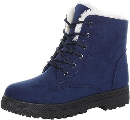 Chaussures Automne Cheville Laçage de Femmes Bottes Plates Fourrure Hiver Minetom Neige Chaudes 2WEHD9I
