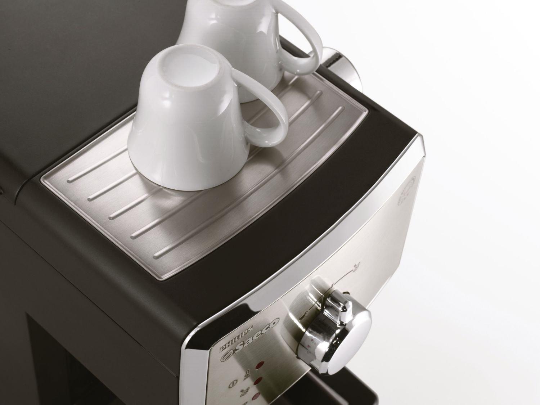 Saeco HD8325/01 - Cafetera Saeco Poemia espresso manual negra y cromada,950W,con Café molido y Easy Serving Espresso (E.S.E.),Bomba de 15 bares, ...