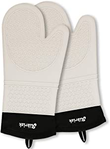 Aibrisk Silicone Oven Mitts Thicken Heat Resistant Flexible Non-Slip Surface Cooking Gloves Potholders Trivet for Safe Oven BBQ Kitchen Counter Hot Dishes or Pans
